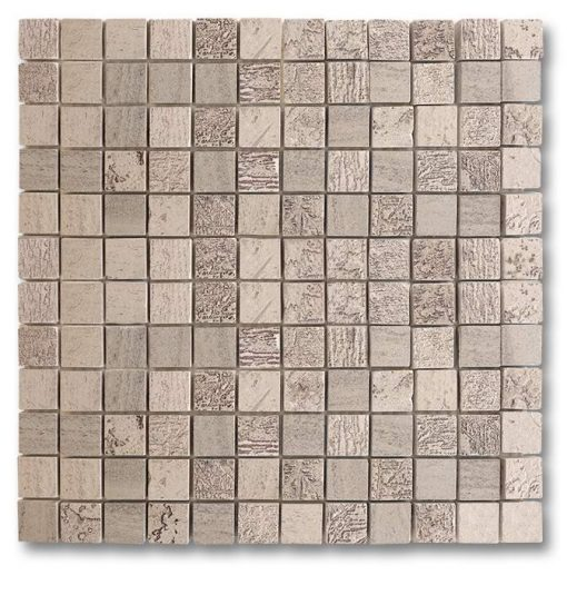 """Moca Fossil Etched 1""""x1"""" Mosaic"""