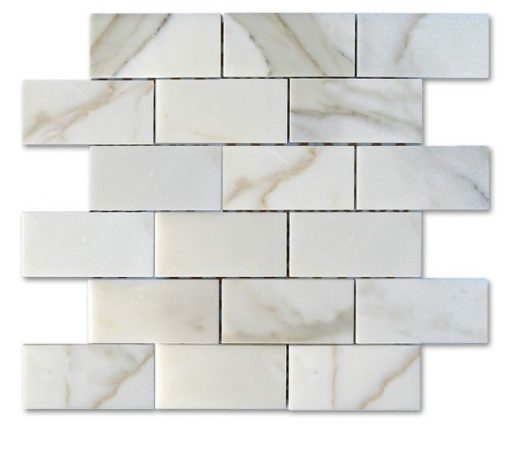 "Calacatta Gold Honed 2""x4"" Brick Mosaic"