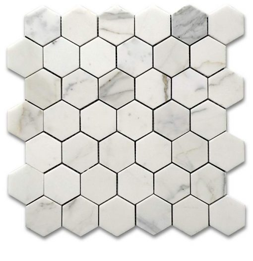 "Calacatta Gold Honed 2"" Hexagon Mosaic"
