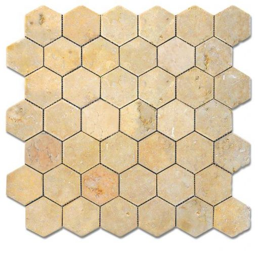 "Jerusalem Gold Tumbled 2"" Hexagon Mosaic"