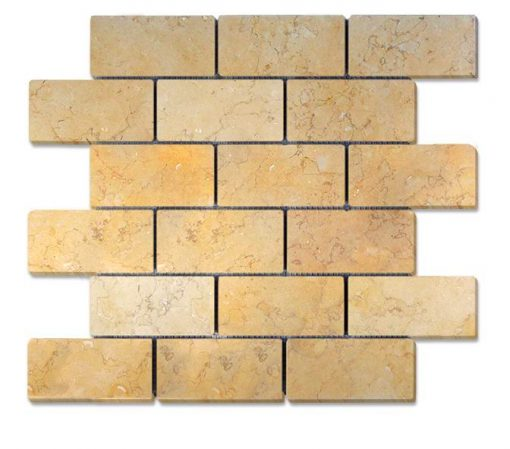 "Jerusalem Gold Honed 2""x4"" Brick Mosaic"