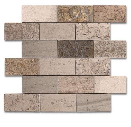 "Moca Fossil Etched 2""x4"" Brick Mosaic"