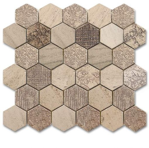 "Moca Fossil Etched 2"" Hexagon Mosaic"