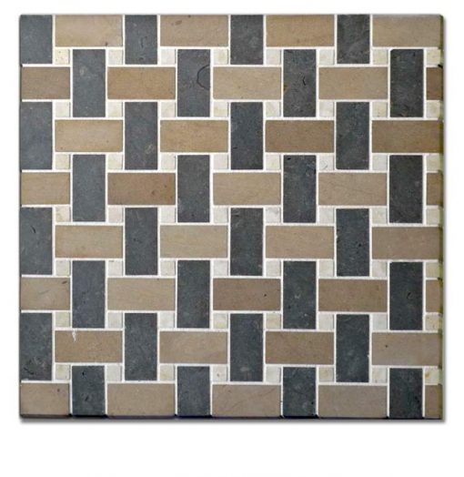 Time Worn Tri Color Roma Basketweave Mosaic