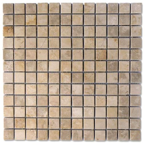 "Jerusalem Grey Gold Tumbled 1""x1"" Mosaic"