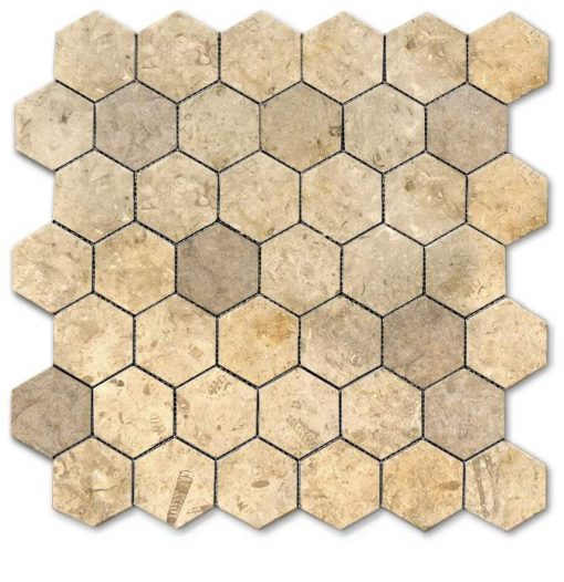 "Jerusalem Grey Gold Tumbled 2"" Hexagon Mosaic"