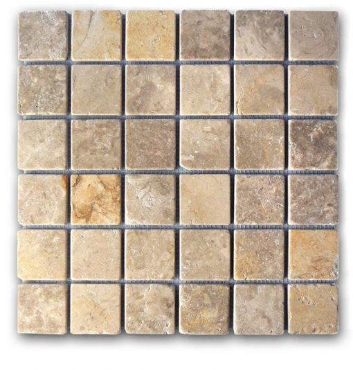 "Jerusalem Grey Gold Tumbled 2""x2"" Mosaic"