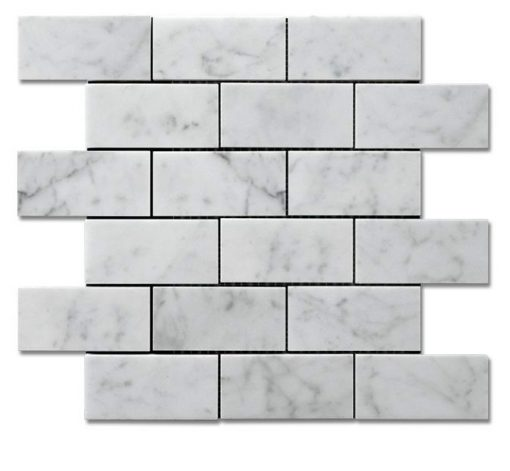"Bianco Carrara Honed 2""x 4"" Brick Mosaic"