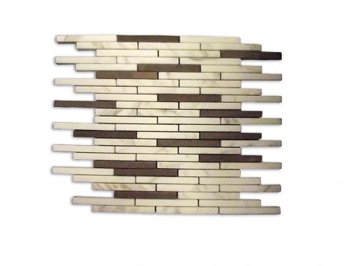 "Calacatta Gold Honed Porto Fino ¼""x 4"" Mini Brick Mosaic"