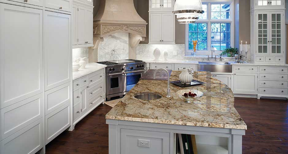 Crema Bourdeaux Granite Kitchen Island