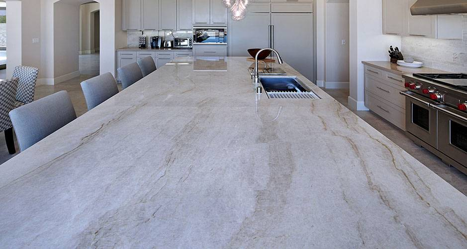 Taj Mahal Quartzite Kitchen Island