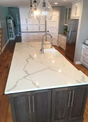 White Marble Quartz Kitchen Island