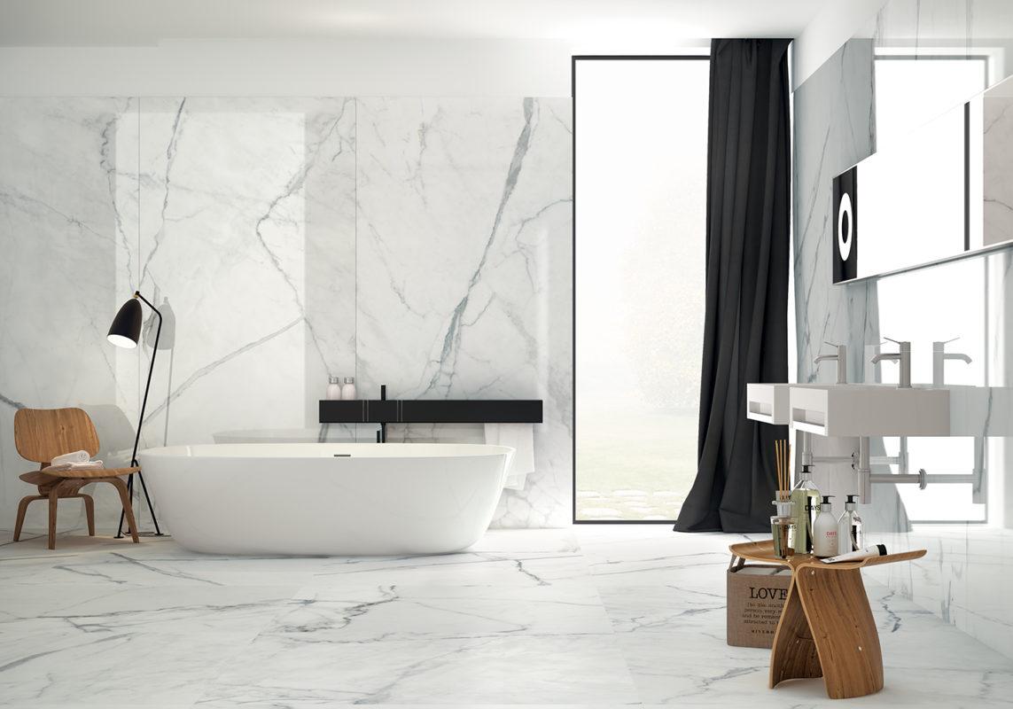 Infinito 2.0 Calacatta White Porcelain Bathroom - Carmel Stone Imports