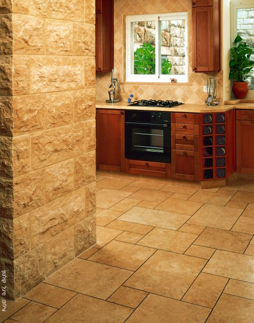 Jerusalem Gold Limestone Tile Kitchen