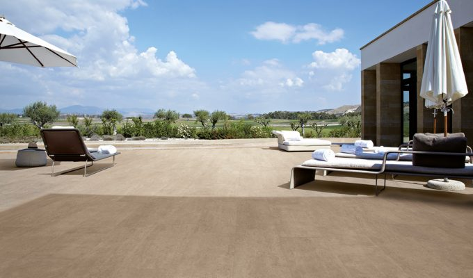 Outdoor Porcelain On Square Paver Pool Deck