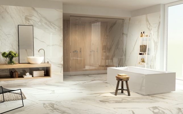 Porcelain Calacatta Gold Slab Bathroom