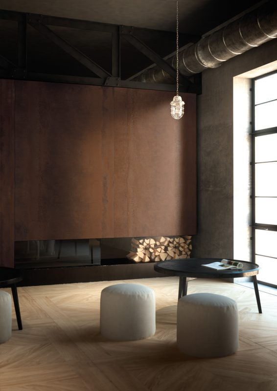 Porcelain Slab Acidic Corten Fireplace