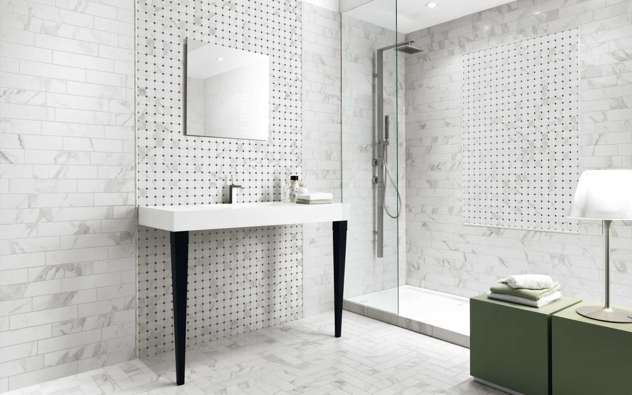 Porcelain Time Worn Calacatta Gold Tile Bathroom