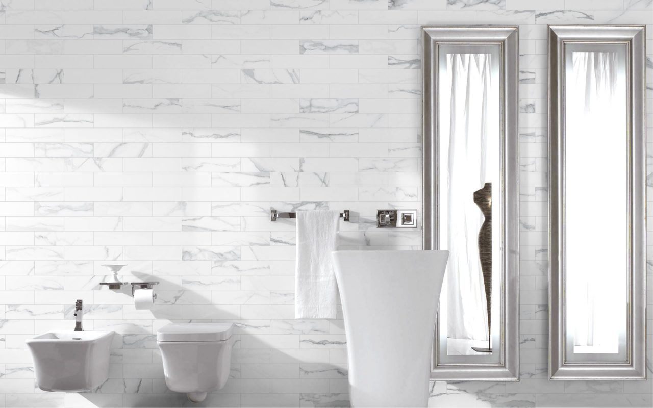 Porcelain Time Worn Statuario Tile Bathroom